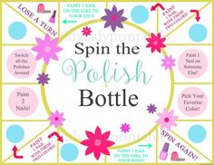 Spin the Nail Polish Bottle Printable Game, Girls Party Game, Spa Party, Beauty Party, Sleepover Gam. Sleepover Birthday Parties, Slumber Party Games, Birthday Games, Girl Party Games, Birthday Ideas, Spa Party Girls, Slumber Party Crafts, Pajama Party Games, 13th Birthday