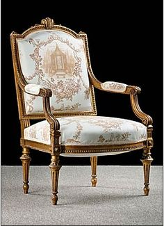 French Antique Louis XVI style Giltwood Armchair