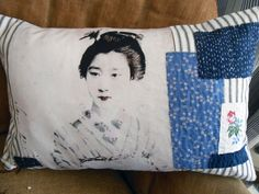 Vintage Style Japanese Geisha Boro patch-worked embroidery Cushion.