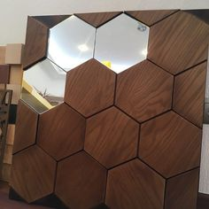 Wooden wall panelling Mosaic Honey with mirrors Wooden Wall Cladding, Wood Slat Wall, Wooden Wall Panels, 3d Wall Panels, Wood Panel Walls, Wooden Wall Art, Wooden Decor, Wood Paneling, Wall Panelling