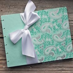 Wedding Guest Book Mint Green and White Paisley by EmersonBindery, $45.00