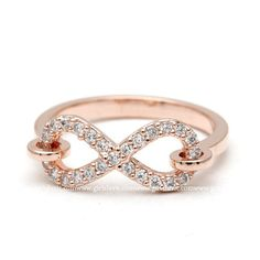 girlsluv.it - hooked infinity ring, crystals in pinkgold