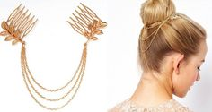 Beautiful Gold Leaf Grecian Goddess Hair Chain Tassel Comb Roman Greek Feather Leaves Royal Head Wreath Hairpiece Clip Pin