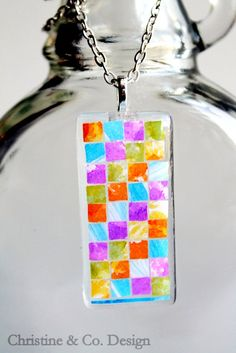 Color Mosaic Art on Glass Pendant by ChristineandCodesign on Etsy, $25.00 #mosaic #necklace