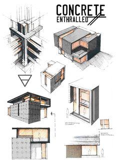 Concrete Enthralled von Anique Azhar, via Behance – - Architektur Mode Portfolio Layout, Architecture Portfolio Layout, Architecture Concept Drawings, Architecture Presentation Board, Architecture Sketchbook, Portfolio Ideas, Presentation Boards, Portfolio Presentation, Portfolio Site