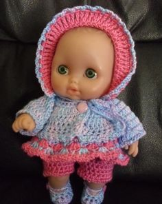 "Crochet pattern for Lil Cutesies Berenguer 8.5"" doll - dress, bonnet, cardigan, shorts and shoes"