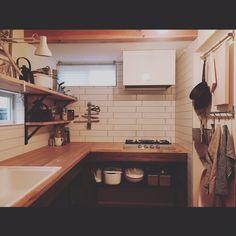 mohayaete����́Aキッチン,DIY,作品,タイル,キッチン,キッチンカウンター,見せる収納,アート,キッチン収納,無垢材,造作キッチン,L字型キッチン,隠せない収納,�̂������ʐ^