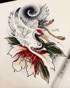 Japanese Leg Tattoo, Japanese Sleeve Tattoos, Wind Tattoo, Tatoo Art, Leg Tattoos, Body Art Tattoos, Sailor Jerry Tattoo Flash, Tattoo Trash, Crane Tattoo