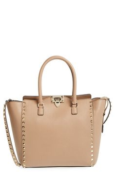 New Valentino Rockstud Double Handle Shoulder Tote Bag Tan Alpaca Studded $2345 | eBay