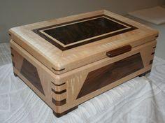 Boîte à bijoux boîte à bijoux en bois par PaulsFineWoodworking