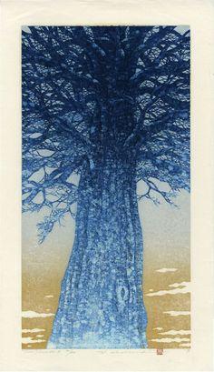 Namiki Hajime Japanese woodblock print Tree Scene 96-B