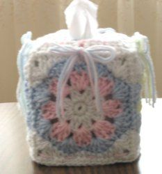 Crochet tissue box cover. Can be done up in any color combo, for any room or for office, teacher gift.