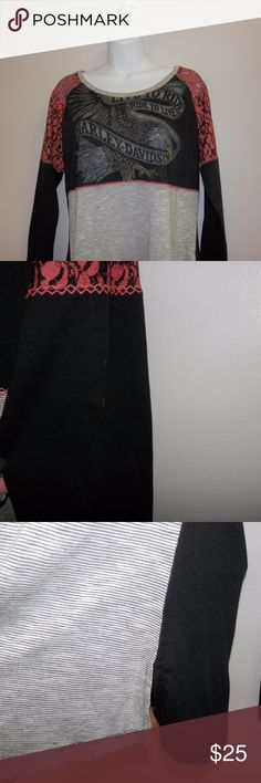 Long Sleeve Harley-Davidson Graphic Tee Sz M Harley-Davidson brand Size M Long sleeve graphic tee Good condition but has one spot on back of left sleeve (see pic) Harley-Davidson Tops Tees - Long Sleeve