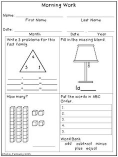 Four Square Morning Work (1st grade) spiral review $ It's a Random Monday Post I'd write my own to put up on the Smart board, and have students write on an formatted answer sheet or blank paper.