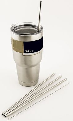 4 LONG Stainless Steel Straight Straws fits 30 oz Yeti Tumbler Rambler Cups