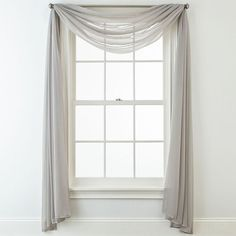 Liz Claiborne® Lisette Sheer Scarf Valance Hang this higher so that the curve of the valance just covers the top of the window. You can pair this with drapes if you want, or leave it like this. Scarf Curtains, Window Scarf, Voile Curtains, Curtain Scarf Ideas, Curtain Styles, Curtain Designs, Living Room Drapes, Window Treatments Living Room, Living Room Windows