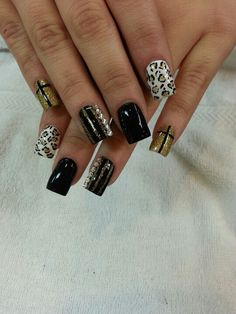 Acrylic nails with designs... Cute but only on statement nail at a time