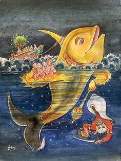 The Matsya avatar. #watercolor #krishnafortoday
