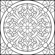 Baroque Shamroque Stained Glass Pattern Adult Colouring Coloring