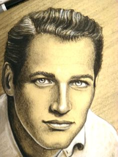 Draw of Paul Newman Charcaol Different Media, Paul Newman, Art Abstrait, Illustrations, My Drawings, Portrait, Dibujo, Men Portrait, Illustration