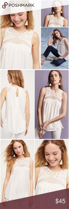 Anthropologie Macrame Tank NWT Delicate Macrame inspired design❤️ Size L NWT! Inspired by the travels, philosophies and artistic pursuits of the bohemian woman, Akemi + Kin creates effortless silhouettes as canvases for global print, colour and embroidery. By Akemi + Kin Cotton, modal Macrame detail Hand wash. Anthropologie Tops