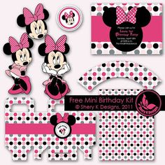 Free SVG and Pintable Minnie Birthday Kit