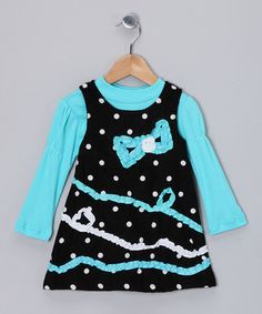 Take a look at this Aqua Tee & Black Corduroy Jumper - Infant & Girls by Nannette on #zulily today!