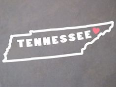 Tennessee Outline Window Sticker Decal with Heart
