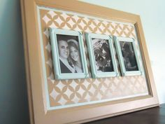 Delightfully Noted: How to Repurpose an Old Cabinet Door: Stenciled Picture Frame