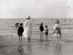 day at the beach, 1910