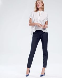 APR '15 Style Guide: J.Crew women's collarless short-sleeve popover shirt, Martie pant and fabric Elsie pumps.