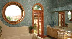 Custom circle window along with a half circle window above a casement. Interior woodgrain finish on all windows. #homeimprovement #homedesign