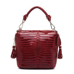 Realer Designer Genuine Leather Purses and Handbags for Women Crocodile Shoulder Bag Red >>> Check out this great product.Note:It is affiliate link to Amazon.