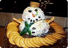 Impress your co-workers during the holidays, with this simple snowman cheese ball. Cheese Ball, Recipe Cards, Snowman, Eat, Breakfast, Desserts, Blog, Christmas, Recipes