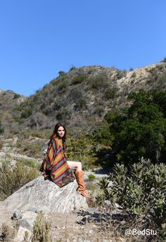 Suzanne Santo of Honey Honey in Pendleton Blanket Shawl and BedStu boots.