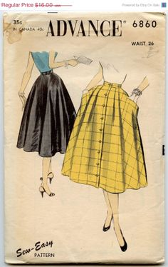 HOLIDAY SALE 1950s Vintage Sewing Pattern Advance 6860 Misses Rockabilly Half Circle Skirt Front Button Closing Patch Pockets Waist 26