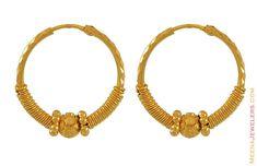 Gold Earrings for Women   Hoop Earrings (22K Gold) - ErHp6428 - 22Kt Gold Indian Hoop Earrings ...