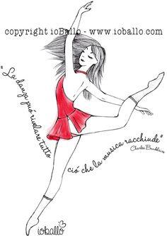 T-shirt ispirata alla danza moderna. Abbigliamento e moda per la danza online nel sito www.ioballo.com  T-shirts inspired by modern dance. Clothing and fashion for ballet online at www.ioballo.com