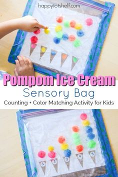 Counting and Color Matching Pompom Ice Cream Hair Gel Sensory Bag A fun pompom ice cream sensory bag to learn colors and counting!