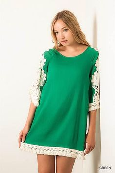 Woven floral lace shift dress. Available in colors; Green, Off white, Papaya, Taupe.