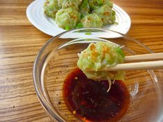 Niouk yen, a Mauritian chayote (chou chou) and dried shrimp dumpling.