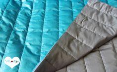 Stepper • Jacken Stoff Weste türkis grau Winter von Villa ❤ Stoff auf DaWanda.com Stepper, Comforters, Villa, Blanket, Bed, Home, Vest, Gray, Jackets