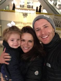 Happy family! Jensen and his girls on his birthday in 2015.