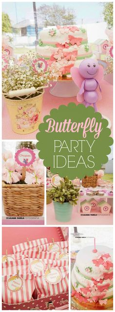 What a pretty pastel butterfly birthday party! See more party ideas at… Butterfly Garden Party, Butterfly Birthday Party, 3rd Birthday Parties, Birthday Ideas, Garden Birthday, Fairy Birthday, Theme Parties, Pastell Party, Baby Shower