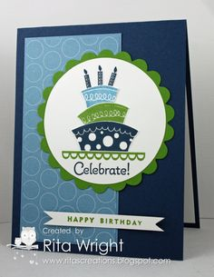 SU! Topsy-Turvy Celebration stamp set and new Polka Dot Parade DSP - Rita Wright - Love the colors of this.