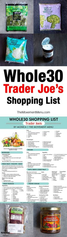 Whole30 Trader Joe's, Whole30 Trader Joe's Shopping List, Trader Joe's Shopping Guide. A shopping list you can print out or save for later. Whole30 recipes are included, too! | The Movement Menu