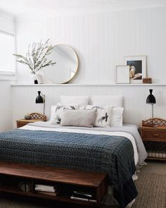 modern bedroom decor, modern boho bedroom design, modern boho guest bedroom decor, modern boho master bedroom decor with navy quilt, neutral bedroom with neutral bedding and shiplap Home Interior, Interior Design, Interior Livingroom, Spanish Interior, Simple Interior, Interior Colors, Interior Paint, Interior Ideas, Cozy Bedroom