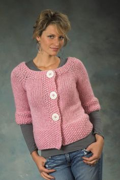Women's Top Down Raglan Cardigan in Plymouth Yarn De Aire - 2258 - Downloadable…