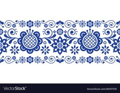 Scandinavian folk art retro long pattern vector image on VectorStock Scandinavian Embroidery, Scandinavian Folk Art, Basic Painting, Polish Folk Art, Chicken Painting, Laser Art, Retro Background, Watercolor Images, Ornaments Design