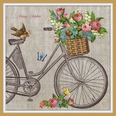 TWO Paper napkins for DECOUPAGE - Vintage Bike with Flowers Basket #511